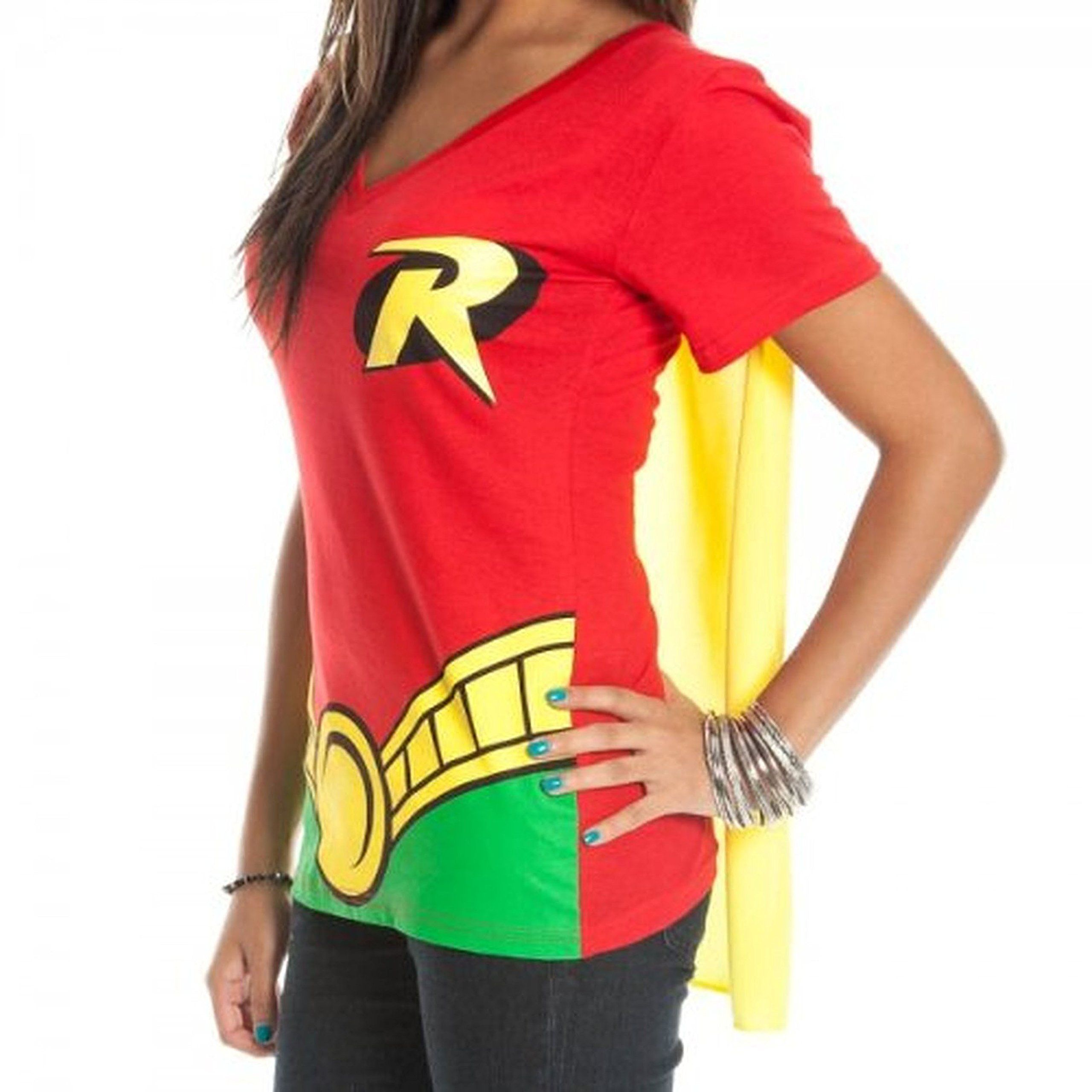 2885d226 Bioworld DC Comics Robin Juniors Red V-Neck Cape T-Shirt-Red-Large ...