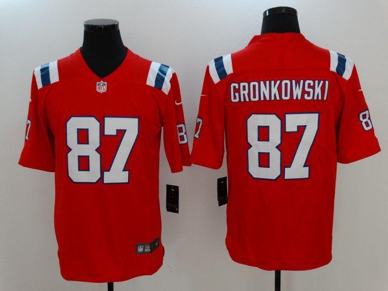 Hot Men New England Patriots 87 Gronkowski Red Nike Vapor Untouchable  free shipping