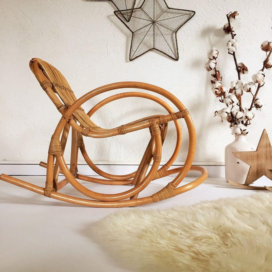 rocking chair fauteuil en rotin enfant vintage ann es 60. Black Bedroom Furniture Sets. Home Design Ideas