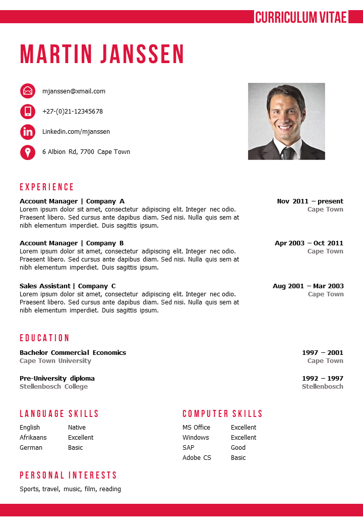 Cv Template Cape Town  Cv Template Cover Letter Template And
