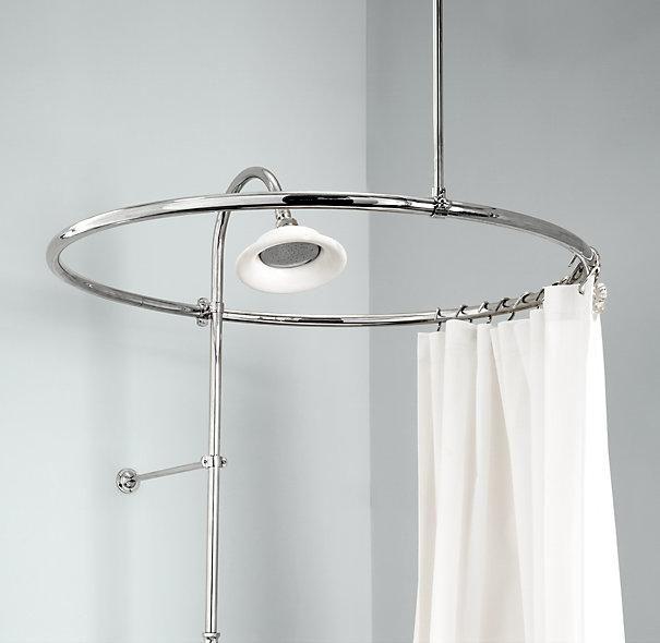 oval shower curtain rod inspiration