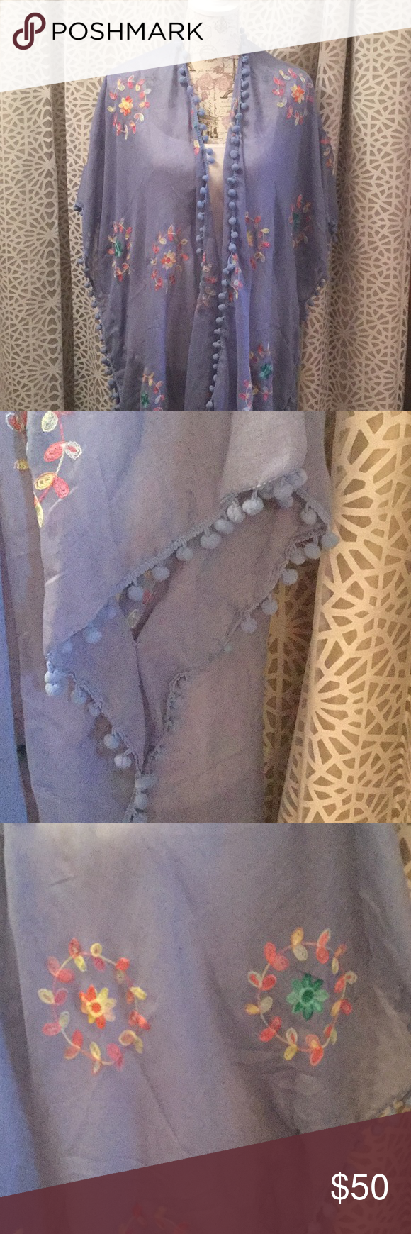 Lovely Cover Up Throwover Cover Up Blue Shawl