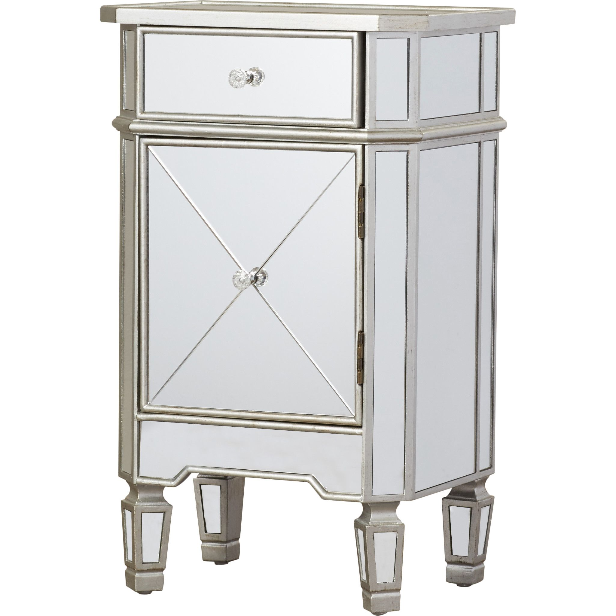 House Of Hampton Rhiannon 1 Drawer Mirrored Cabinet Accent Cabinet Mirrored Side Tables Accent Doors