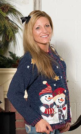 Ugly Tacky Blue Button Up Christmas Sweater Snowman Ls Red Thread