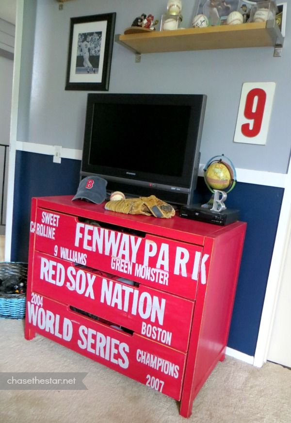 Red sox baseball dresser ikea hack via chase the star for Boston red sox bedroom ideas