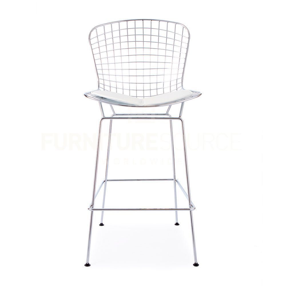 Tremendous Harry Bertoia Style Wire Counter Bar Stool White Pad Theyellowbook Wood Chair Design Ideas Theyellowbookinfo
