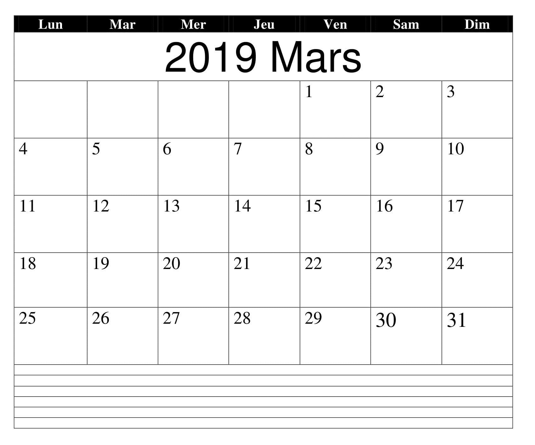 Calendrier 2019 Xls.Mars Calendrier 2019 Words Notes Mars