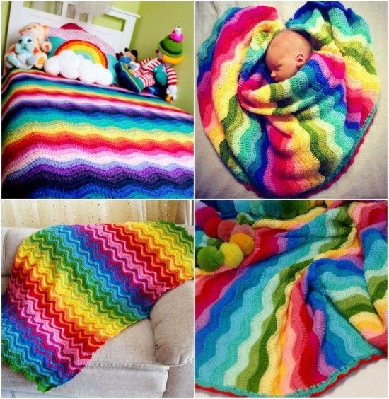 Rainbow Ripple Crochet Blanket | Manta, Patrones y Tejido