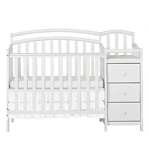 Dream On Me Casco 3 In 1 Mini Crib And Dressing Table Combo White Mini Crib Cribs Bed Frame Mattress
