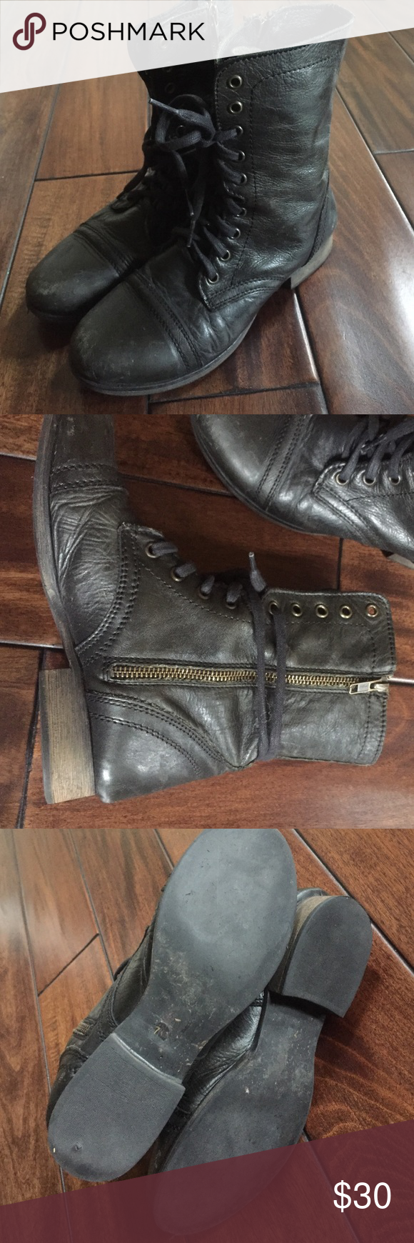 """Steve Madden """"Troopa"""" Boots Black Steve Madden """"Troopa"""" combat boots, fairly worn, a few scuffs at the toe (looks like it's supposed to be there), size 7 Steve Madden Shoes Combat & Moto Boots"""