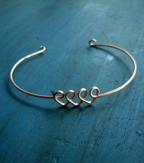 Infinite Love Heart Infinity Bracelet Rose Gold Bangle Friendship Bracelet Bridesmaid Jewelry Best Friends Gift Sisters Bracelet via Etsy