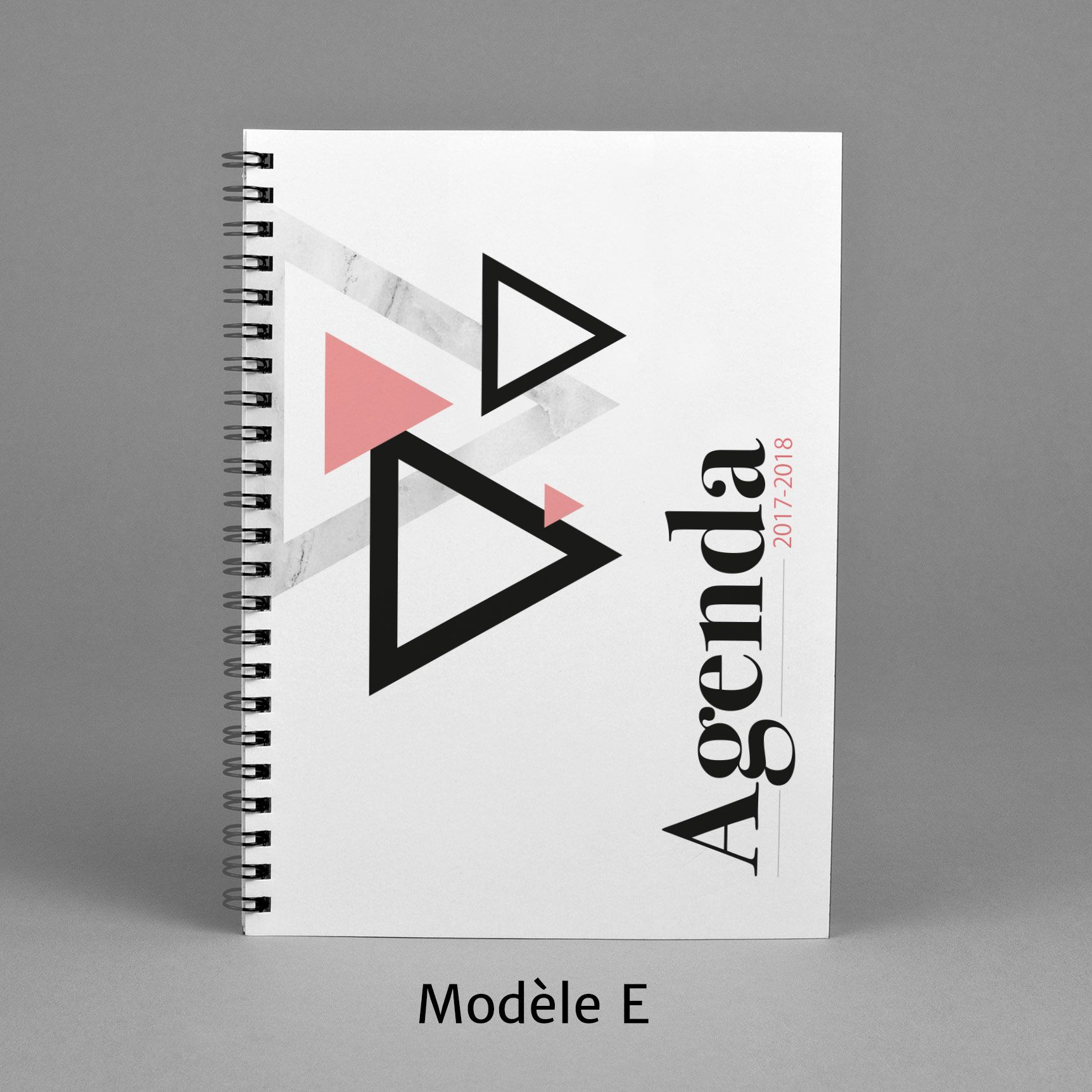 Agenda 2017 2018 modèle e 40 pink black and white marble triangle pattern