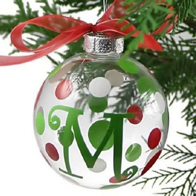 Modern Holiday Gl Initial Christmas Ornaments