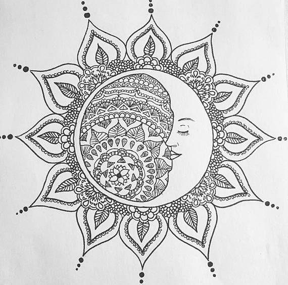 Sleeping dessin de lune mandala lencre noir et blanc - Dessin de lune ...