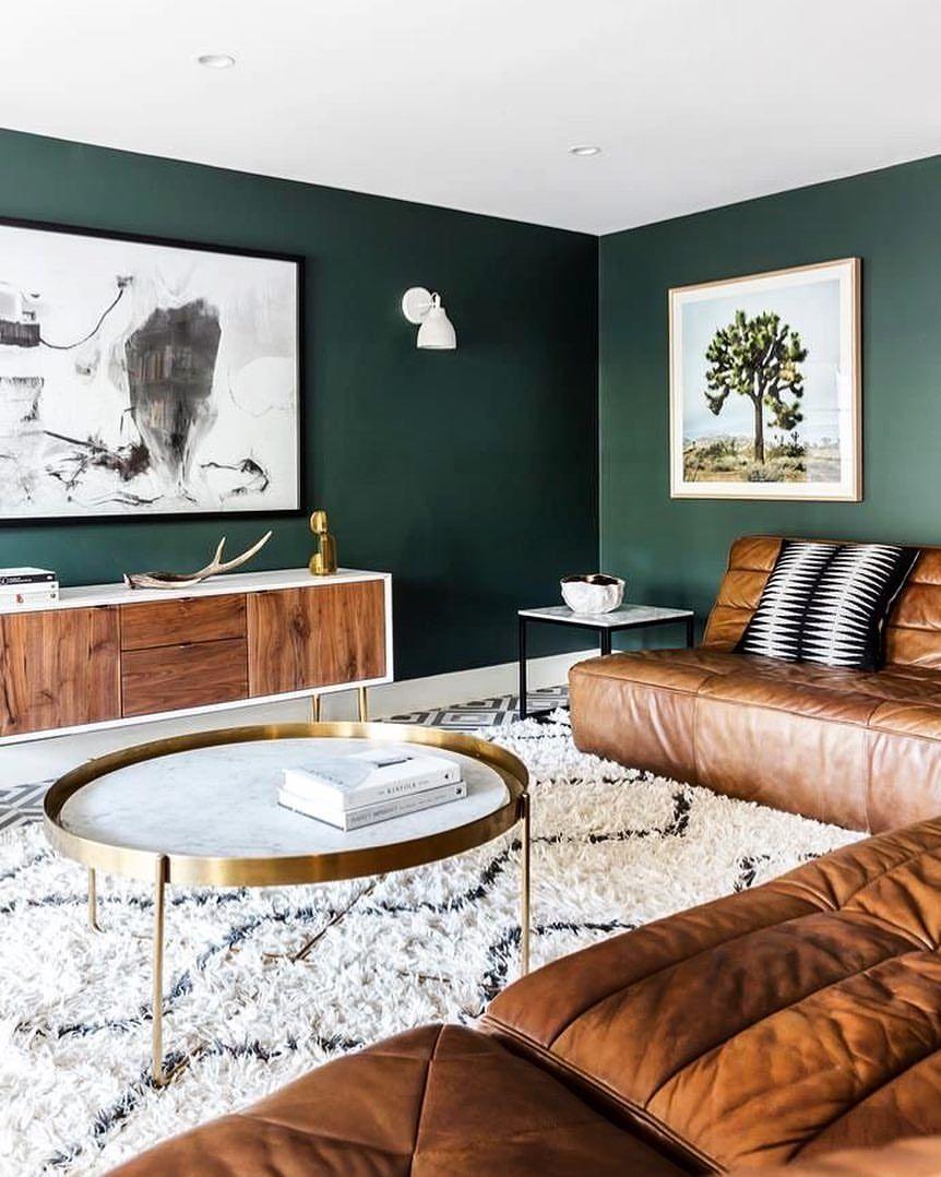 #Livingroom #Leather #Caramel #DarkGreen #Wood #Carpet ...