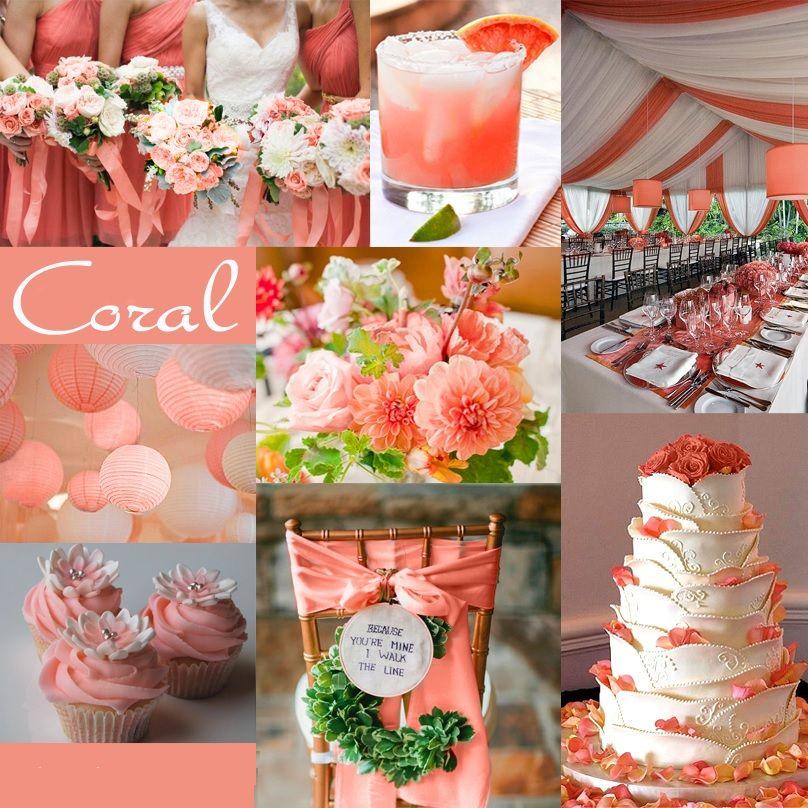 Color Coral Para Decorar Bodas En 2017 Wedding Pinterest