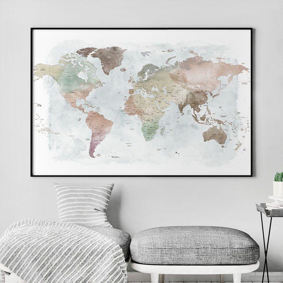 World map, World map poster, world map wall art, Large