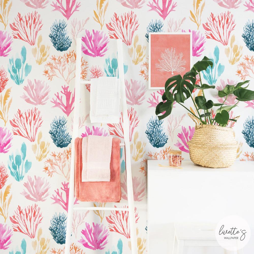 Watercolor Coral Reef Wallpaper Rainbow Color Bathroom Removable Or Traditional Wallpaper Coral Watercolor Removable Wallpaper Traditional Wallpaper