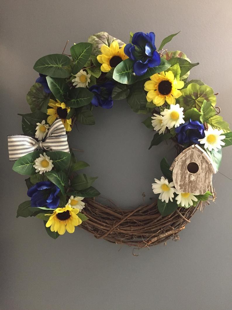 Photo of Summer Wreath, Sunflower Wreaths, Grapevine Wreath, Country, Shabby Chic, Home Decor, Bird house wreath