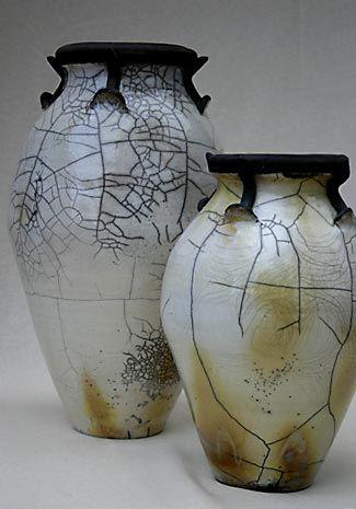 Raku sculpture Bowl Vase Crackle finish