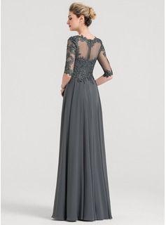 b048e6f93c A-Line Princess Scoop Neck Floor-Length Chiffon Evening Dress With Beading  (017147954) - Evening Dresses - JJsHouse