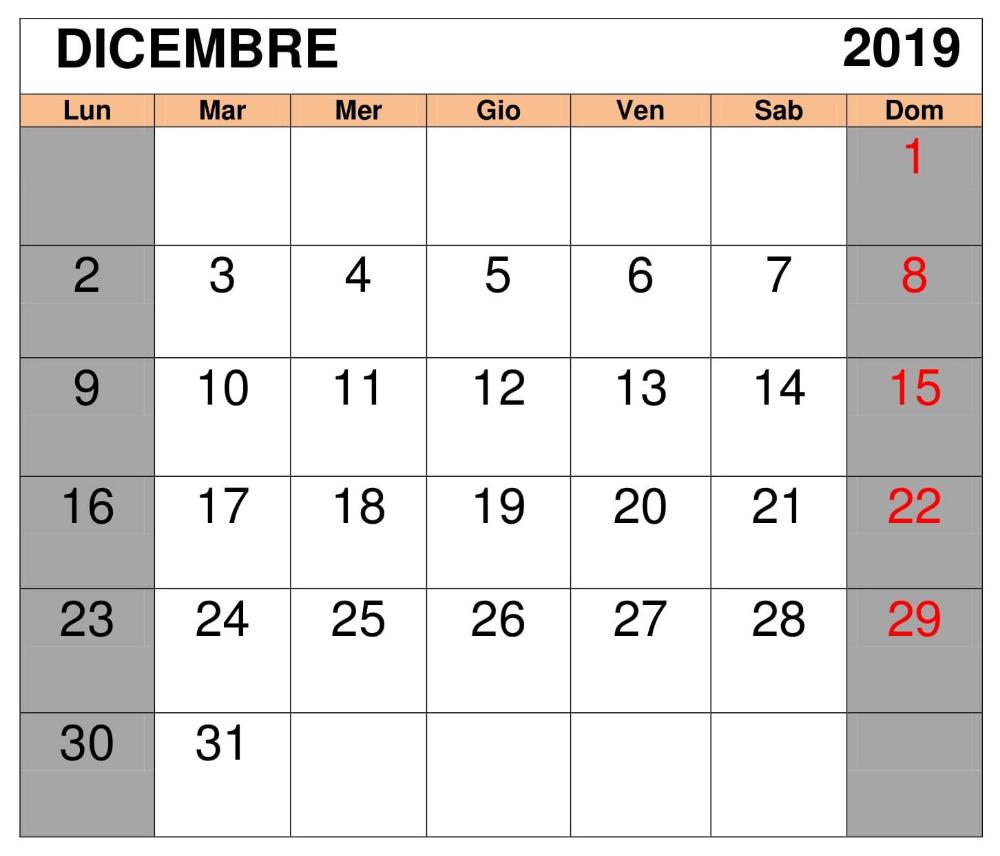Calendario Dicembre 2019 Excel.Calendario Dicembre 2019 Gratuito Calendario Dicembre 2019