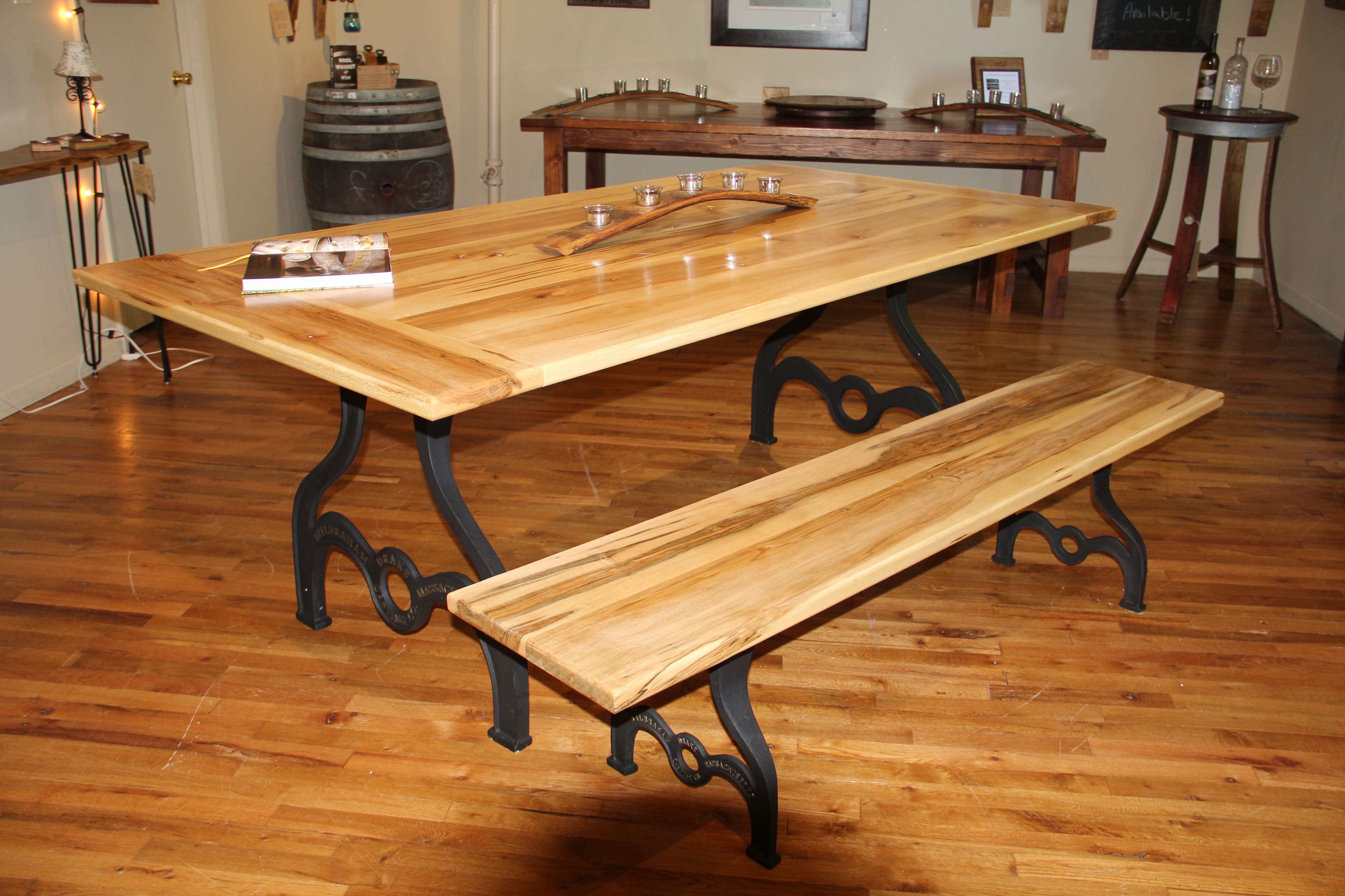 Awesome 7 Ft Ambrosia Maple Farmhouse Table With Matching Bench Pabps2019 Chair Design Images Pabps2019Com