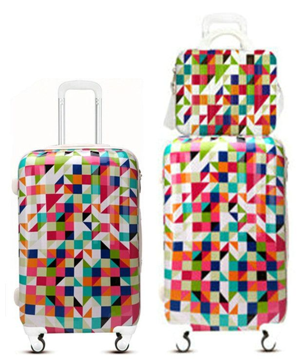 New! Colored Geometric Patterns Travel Suitcase ABS PC Universal ...
