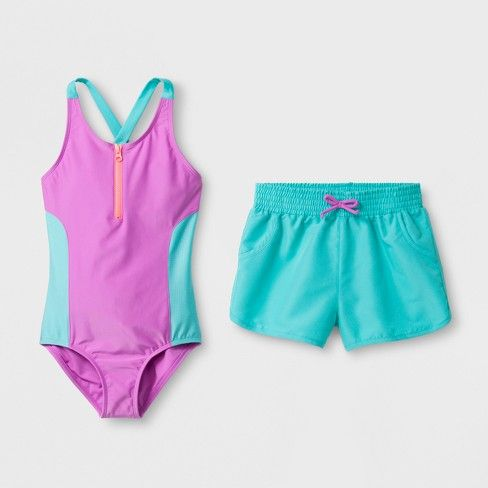 2eed2ce9a7 Girls' Colorblock One Piece Swimsuit Set With Shorts - Cat & Jack™ Purple :  Target