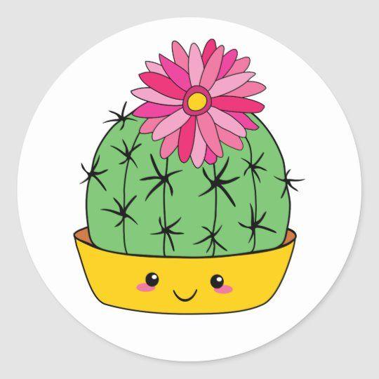 Smiley Face Kawaii Cartoon Cactus Sticker