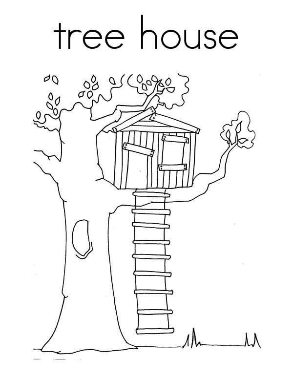 Treehouse Coloring Page for Kids | Color Luna | Quilt ideas ...