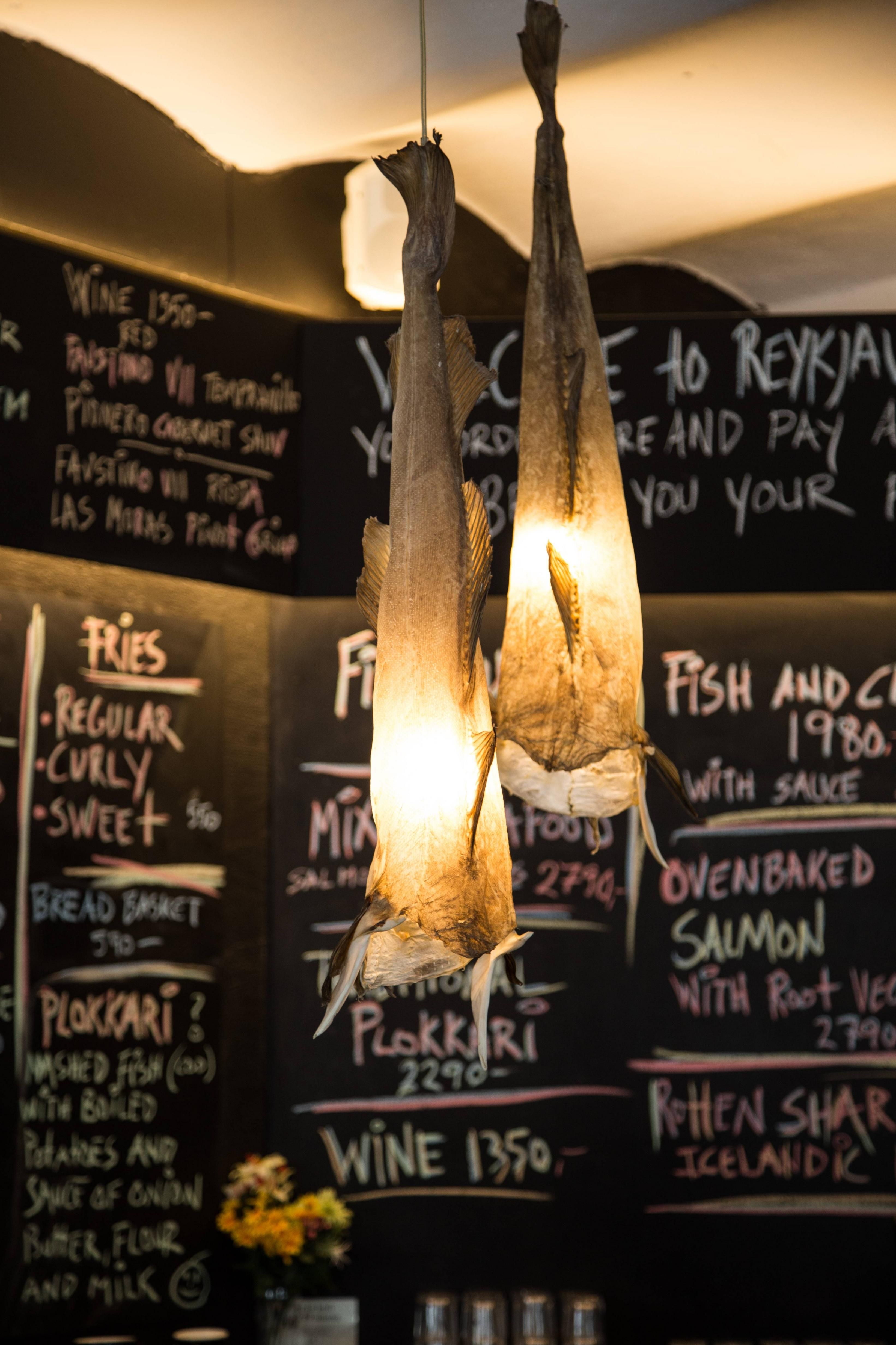 This fish restaurant in iceland had dried fish skins as lighting this fish restaurant in iceland had dried fish skins as lighting fixtures arubaitofo Image collections
