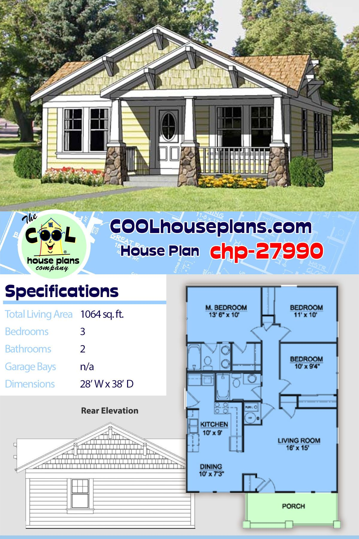 Craftsman Style House Plan 94371 With 3 Bed 2 Bath House Plans Best House Plans Cottage Plan