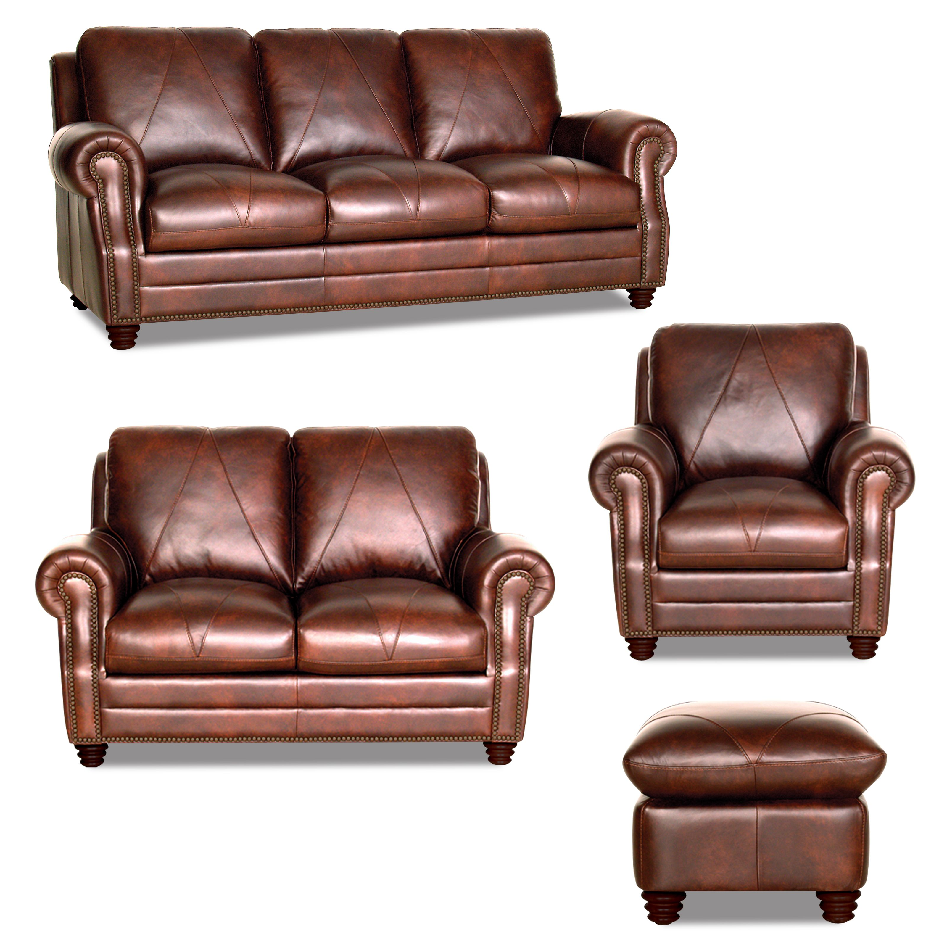 Soloman 4 Piece collection Chocolate Brown leather with diamond