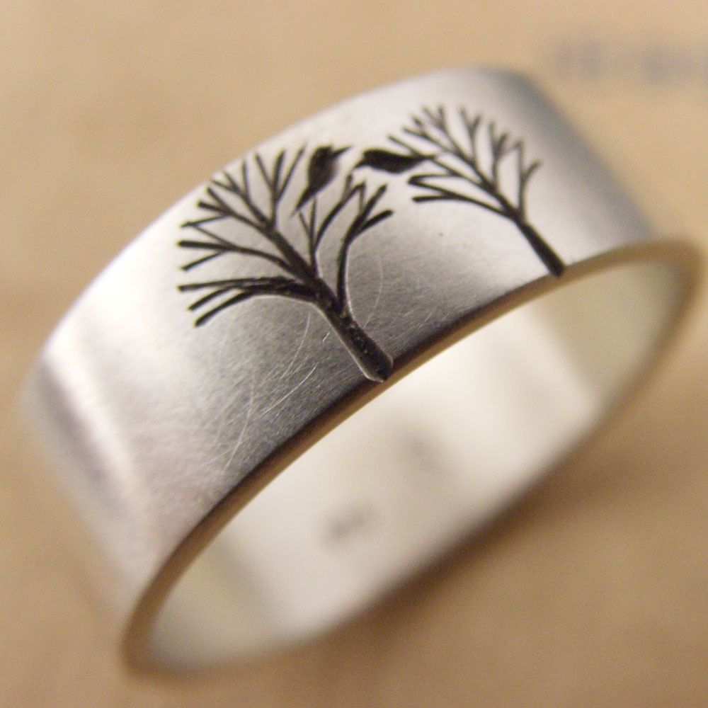 Unique Wedding Band Or Engagement Ring With Birds In A Trees 6mm Wide 9ct  White Gold