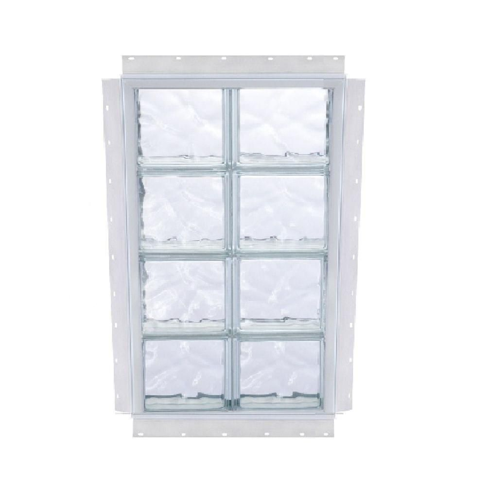 Tafco Windows 24 5 In X 32 5 In Nailup Wave Pattern Solid Glass Block Window S2432wav The Home Depot Glass Block Windows Glass Blocks Pattern Glass