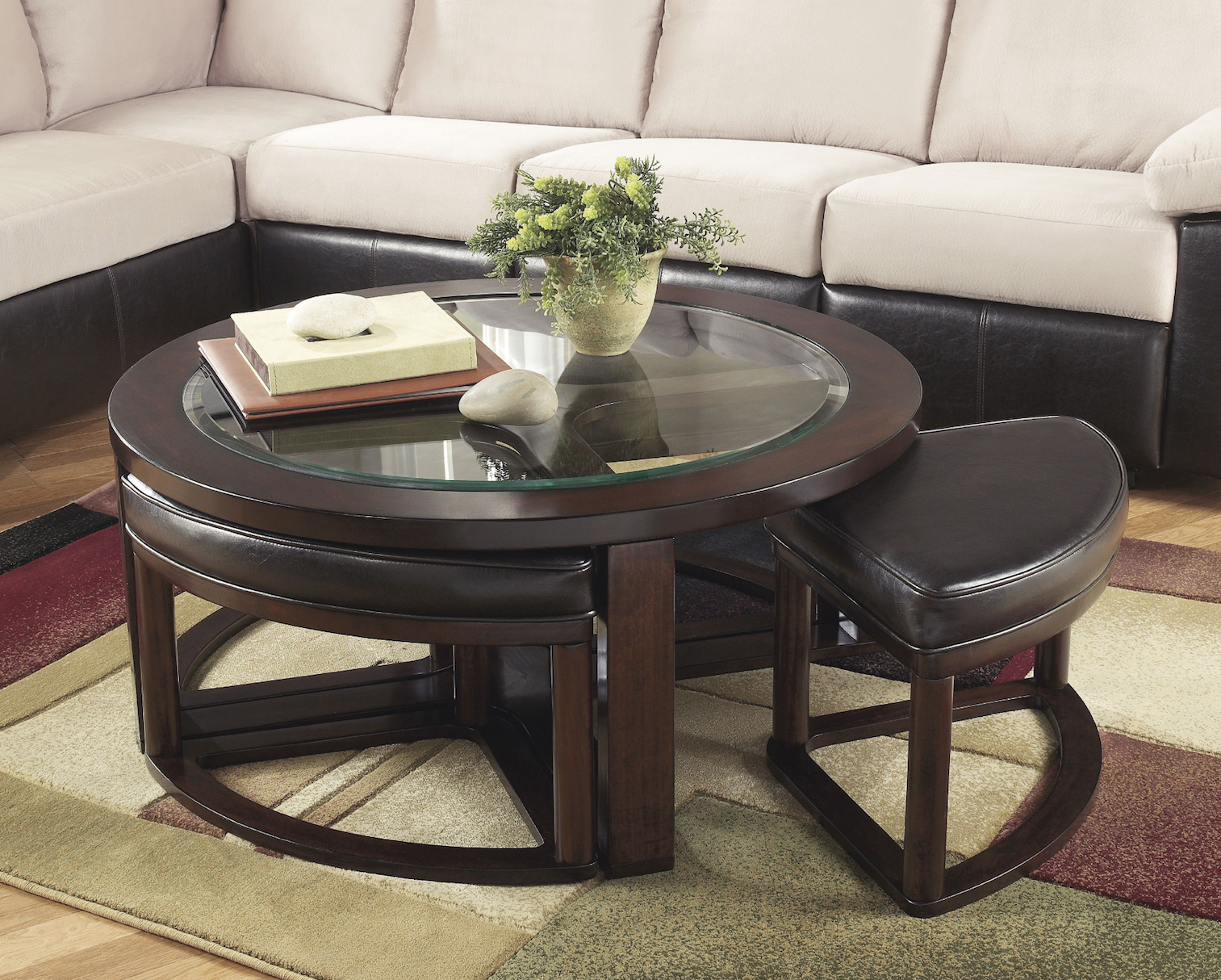 Ashley Marion Round Coffee Table With Nesting Stools Homemakers Furniture Coffee Table Wood Coffee Table Coffee Table With Stools [ 1214 x 1513 Pixel ]