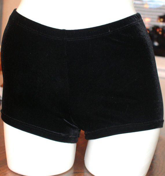 14f4aa66b1c Hot pants shorts black luxury velvet spanky DANCERS FAVORITE cheer ...
