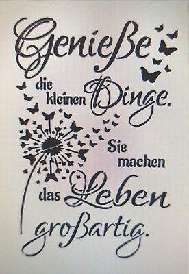 Shabby Schablone Mobel Wand Stoff Farbe Schild Spruch Geniesse Dinge Leben Zitat Schilder Mit Spruchen Weisheiten Spruche Lebensweisheiten Spruche