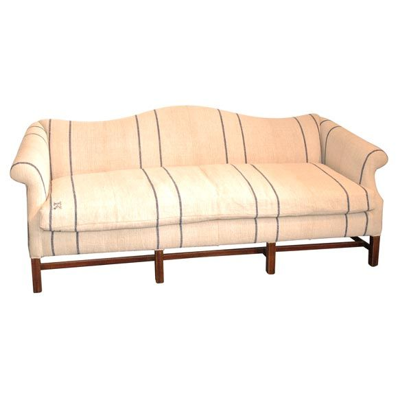 1930S QUEEN ANNE STYLE CAMEL BACK SOFA IN 19THC LINEN paint sofa