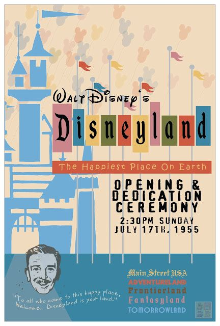 Disneyland Poster July 17 1955 My 7th Grade Social Studies Teacher Miss Claudine Sykes Said She Worked Vintage Disneyland Retro Disney Disneyland Opening
