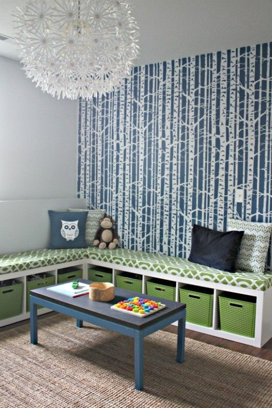 love the storage bench space diy from ikea i also love the wallpaper this space is great for a kids room colors are spot on