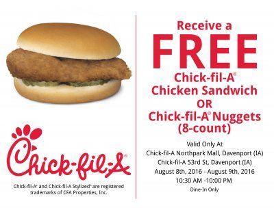 chick fil a free chicken sandwich
