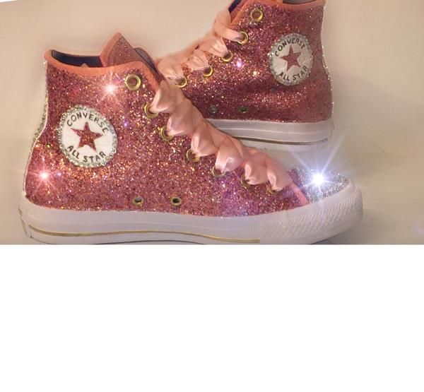 15 OFF with code  PINNED15 Womens Glitter   Crystals Converse All Stars  Metallic Rose Gold Pink -High Top Bride Wedding Prom Sneakers Shoes d60dd90f93d9