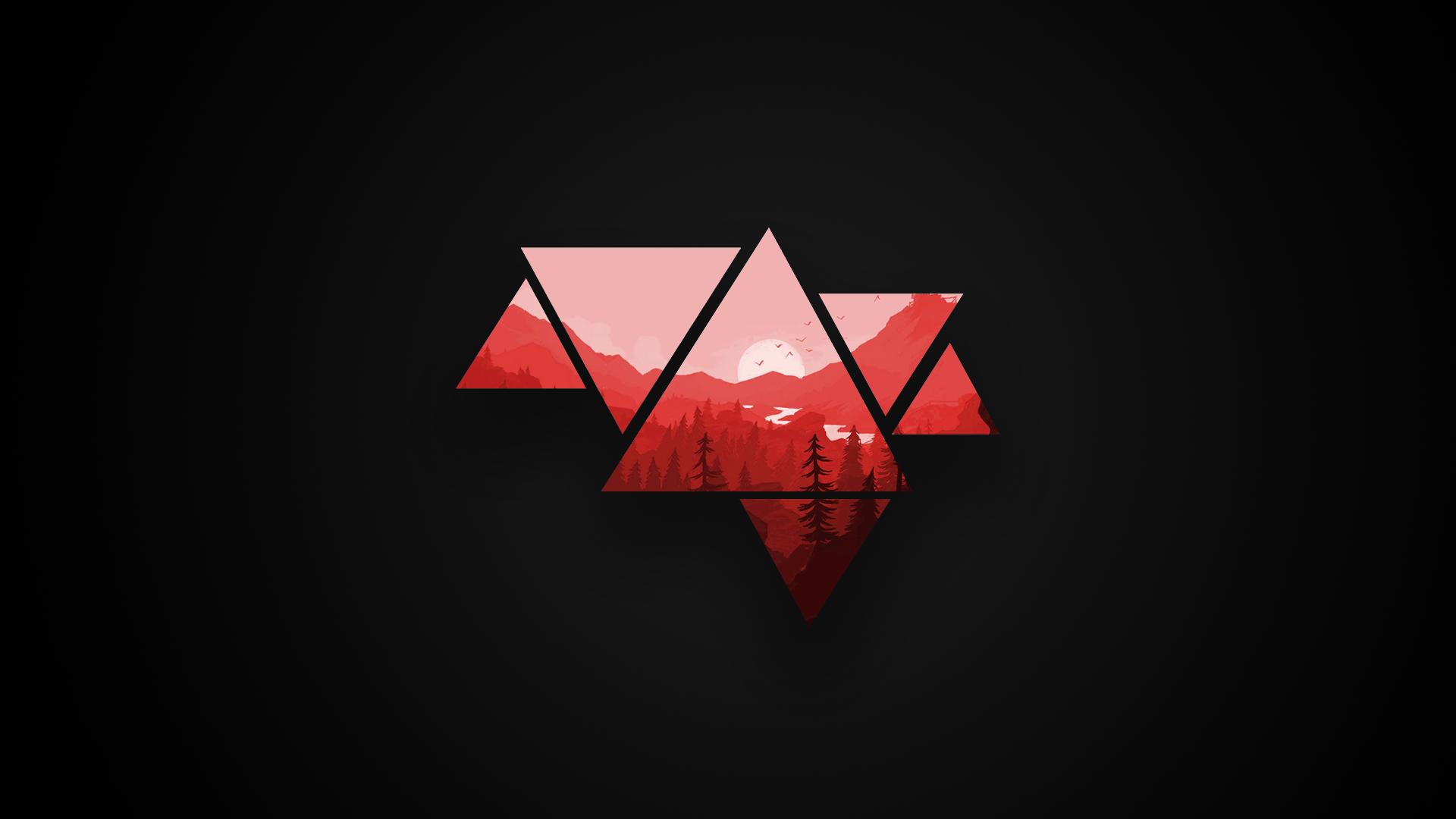 Minimalistic Mountains Red And Black Version 1920x1080 Acabamentos De Pintura Wallpaper Capa De Twitter