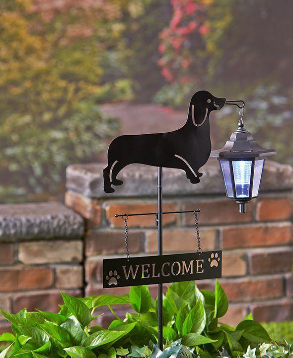 Dachshund Dog Welcome Stake Solar Light Lantern Yard