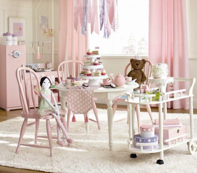 Girls Playroom Light Pink Curtains On Light Cream Ish