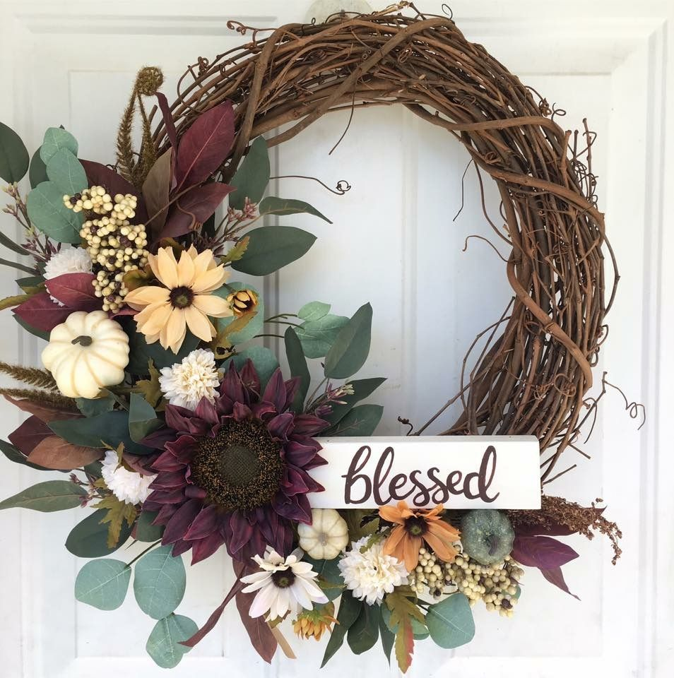Fall wreath pumpkins blessed sunflower rustic floral wreath
