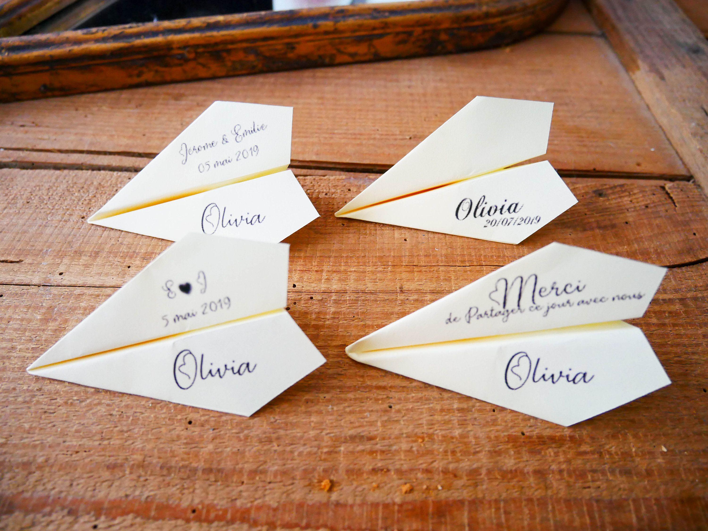 Marque Place Avion Origami Porte Nom Mariage Bapteme Etsy Porte Noms Mariage Marque Place Avion Idee Diy Mariage