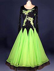 Robes(Vert   Rouge   Bleu Royal   Blanc   Jaune,Chinlon   Crêpe,Danse  moderne   Spectacle   Danse de Salon)Danse moderne   Spectacle   beb9951f1411